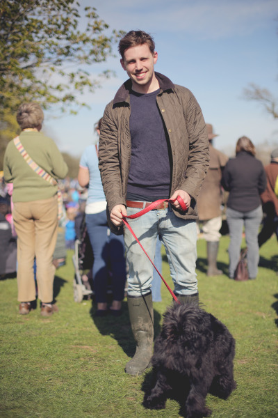 Matt and his dog Oscar at Badminton horse trials, Matt bought this jacket after he wore it so much it was irreparable!
