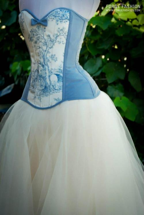 forgefashion:  Toile Du Jouy Over bust and Tulle Skirt By Forge Fashion…..