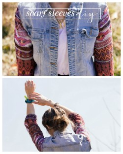 truebluemeandyou:  DIY Denim Jacket Restyle with Scarf Sleeves Tutorial from Always Rooney here. I'm posting this because I recently got a question about how to refashion a denim jacket with the sleeves cut off here.