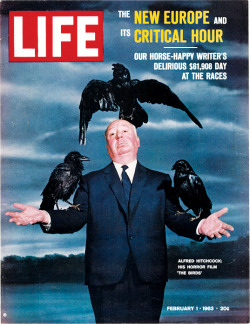 "life:  On this day in LIFE magazine — February 1, 1963: Alfred Hitchcock: His Horror Film ""The Birds."" See more photos of Hitchock here."
