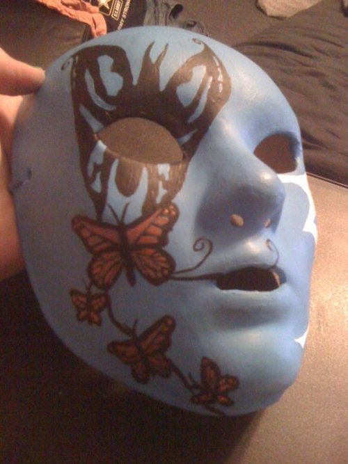 jacevishus:  Hollywood Undead masks. The top is J3T with glow in the dark butterflies, bottom is half Da Kurlzz and half J-Dog. I made them both for a Hollywood Undead/A7X concert in Cincinnati.