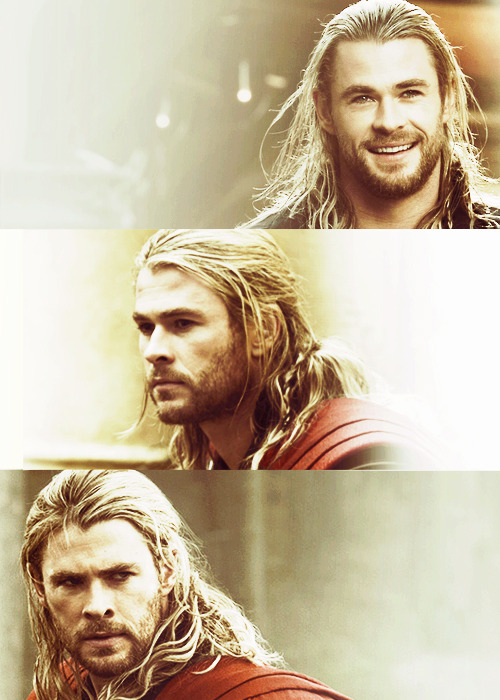"themightierthor:  ""Great heroes need great sorrows and burdens, or half their greatness goes unnoticed. It is all part of the fairy tale."" — Peter S. Beagle Even the sun's warm smile must descend into darkness for a time. Who knows what struggles it faces as the moon washes the world in white and night stains the walls with shadows? Yet no matter the adversity, it always triumphs, rising with pride and open arms for mortals and gods alike. The gods follow a similar path, one no less majestic. The fate of the Earth relies solely on their magnanimity and the breadth of their shoulders. Should darkness engulf them and seep from them their strength, mortals, too, will crumble. Not all will risk such trials for ones so inherently lesser, beings little more than porcelain shells of true glory—but one. He leads the way, hammer aloft, into the gloom-riddled field of battle. But valiance and victory come not without a surrendering of self.  What will you sacrifice for what you believe? For what you love? For who you believe, who you love? Nothing in all creation can exist without its opposite. Is it then worth it to fight, when with triumph also comes defeat…."