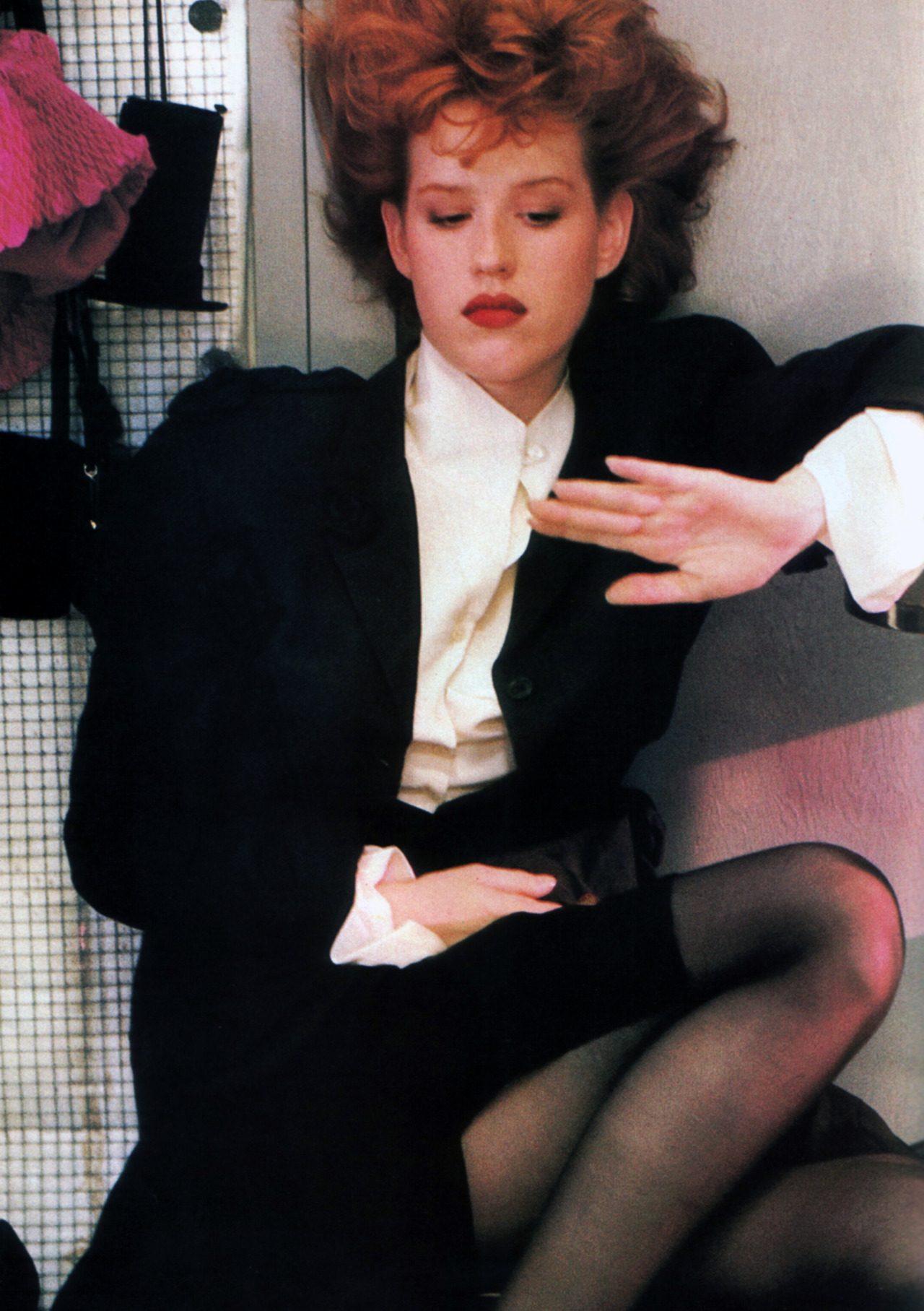 periodicult:  Molly Ringwald, photographed by Sheila Metzner for American Vogue, September 1987. Clothing by John Galliano.