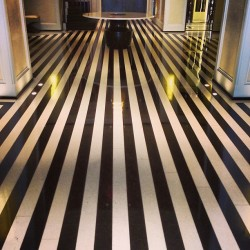 I want these floors! #themarkhotel #longlateluxuriouslunch #nyc #stripes are #alwaysawesome (at The Mark Restaurant by Jean-Georges)