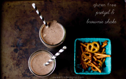 gluten-free pretzel and brownie shake.