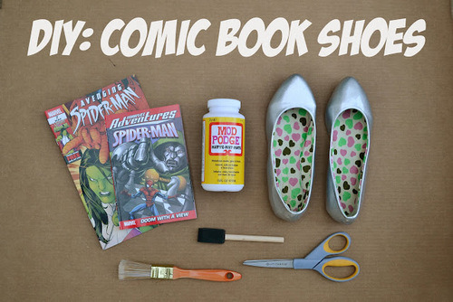 PS : ♡: diy: comic book shoes on We Heart It. http://weheartit.com/entry/32032876/via/kelseyfrompsheart