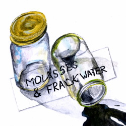 "Molasses & Frack Water (album cover) 6"" x 6"" acrylic on paper *quick album cover for my housemates' band"