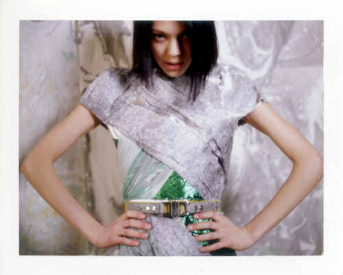 officialrodarte:  Kinga Rajzak wears Rodarte's FW09 Grey and Green Silk Dress and Grey Leather Belt (photo by Autumn de Wilde).
