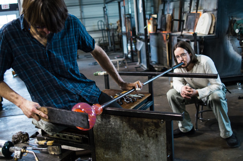 Glass blowing and vase making at 3rd Degree Glass Factory in #STL
