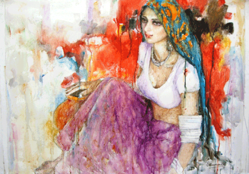 "indigenousdialogues:  Pakistani painter, Moazzam AliOil on canvas36"" x 48"""