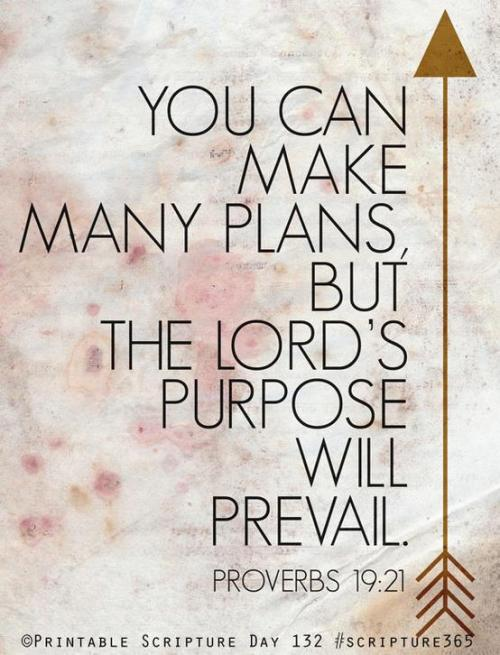 You can make many plans, but the Lord`s purpose will prevail. [Proverbs19:21]