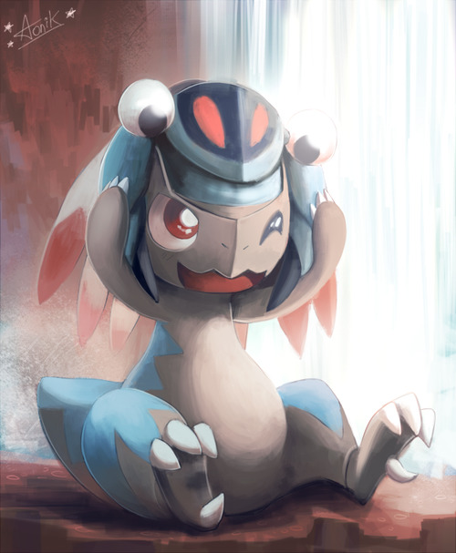 alternativepokemonart:  Cranidos wearing an Anorith.