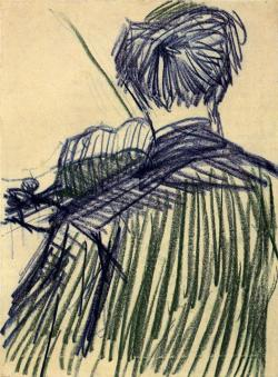 blue-voids:  Vincent van Gogh - Violinist Seen from the Back, 1887