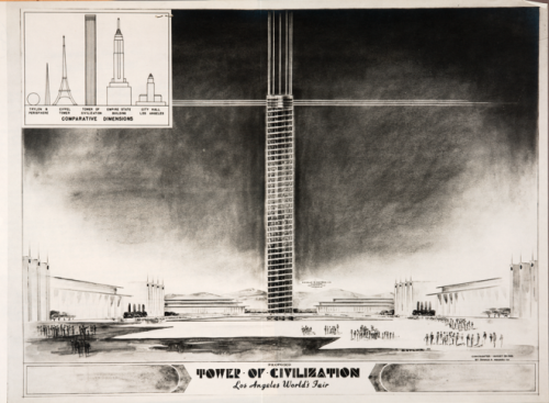 "Tower of Civilization, 1939 Los Angeles World's Fair Courtesy Huntington Library, Art Collections, and Botanical Gardens  The 1939 World's Fair was held in New York but Los Angeles wanted it. The tower would have been 150 feet wide and 1,290 feet tall (the current tallest building, the Burj Khalifa is 2,722 feet). ""It would have been the tallest structure in the world at the time,"" writes Lubell. ""It was going to be made of metal and plastic, with laser-like lights radiating from its top. A helixical walkway, totaling 3 miles in length, would have allowed visitors to climb to the top.""   via Documenting the Never-Built Dreams of the City of Angels 