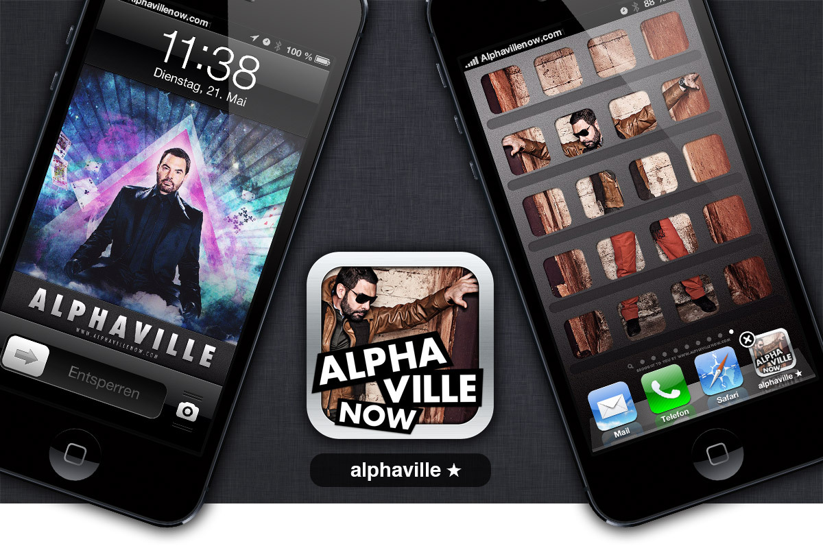 "Free Alphaville-'App' and theme for your iPhone 5, iPhone 4 and iPod Touch! …well, at least almost. If you love to dress up your iPhone 5 with some Alphaville visuals please feel free to download the above shown graphics for your lock screen and your home screen right here for free. iPhone 5 users go here: https://www.sugarsync.com/pf/D6624198_96_8072922395 iPhone 3 or 4 users or iPod Touch owners go here:https://www.sugarsync.com/pf/D6624198_96_8073606759 The cool thing is, if you bookmark www.alphavillenow.com on any iPhone and chose the ""add to homescreen"" option, you'll be able to use this blog (at least a bit) like an app: a smart alphaville icon will brighten up your home screen and the blog will open without any web browser elements. If you also own the ""London Sky"" ringtone we offered for a limited time back then, you'll be having the perfect Alphaville device. Have a great day! PS: … as you read in an earlier post on this blog you currently have the chance not only to win an exclusive MP3* of the demo version of QUESTIONS OF HAPPINESS, an unreleased Alphaville song, you also have the chance to raise a few questions and to do a fan-interview with Alphaville. How that works? Just click here to find out, you can still join in. [photos: universal (CROG-artwork by schiller design, photograph: zargarinejad) and provocateur (production: catherine ebser, photographer: stefan gergely). used with kind permission, provided by marian gold / alphaville – iPhone, iPod Touch and iPod are trademarks of Apple Inc., registered in the U.S. and other countries]"