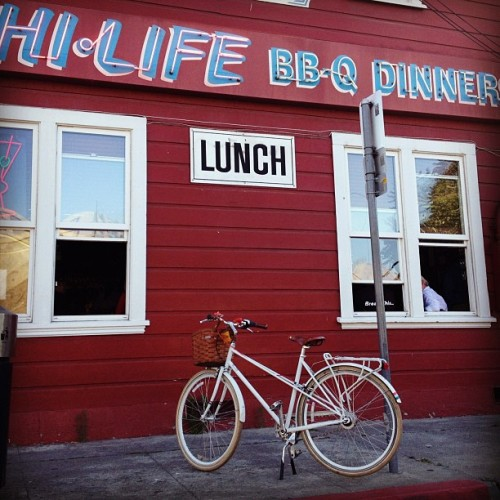 Where's my bike today? Picking up ribs & chicken at San Jose's most famous BBQ joint.