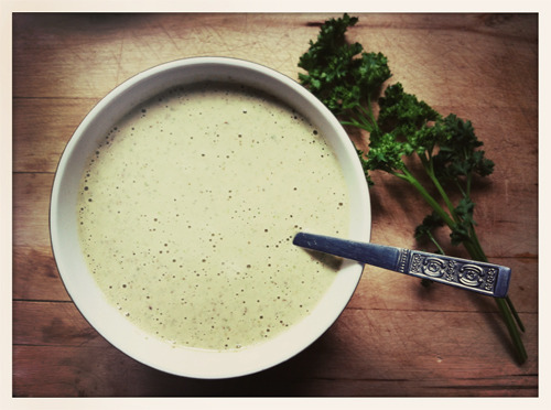 speakerforthetrees:  Tahini, Lemon & Garlic Salad Dressing I am always looking for new dressing recipes, especially that have tahini in them. It's a wonderful way to have a creamy dressing without dairy. I would go the soaked raw cashew route, but we still need to get our hands on a high-speed blender.  This over a kale, roasted sweet potato & cauliflower salad would be pretty amazing.