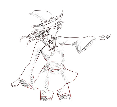 sisapuu:  Quick doodle… I've been wanting to draw witches lately, inspired by Little Witch Academia which I highly recommend!