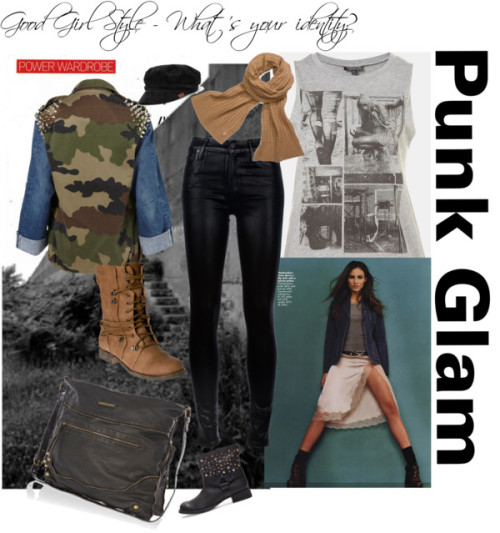 'Punk Glam' Good Girl - You Rock! by just-charlene featuring flat hatsTopshop graphic t shirtnordstrom.comThe Ragged Priest studded jacket$110 - topshop.comCitizens of Humanity high rise jeans$415 - farfetch.comZara studded bootieszara.comOver the knee lace up boots$24 - desireclothing.co.ukRiver Island black bag$44 - riverisland.comTory burchtoryburch.comKangol flat hat$50 - urbanexcess.com