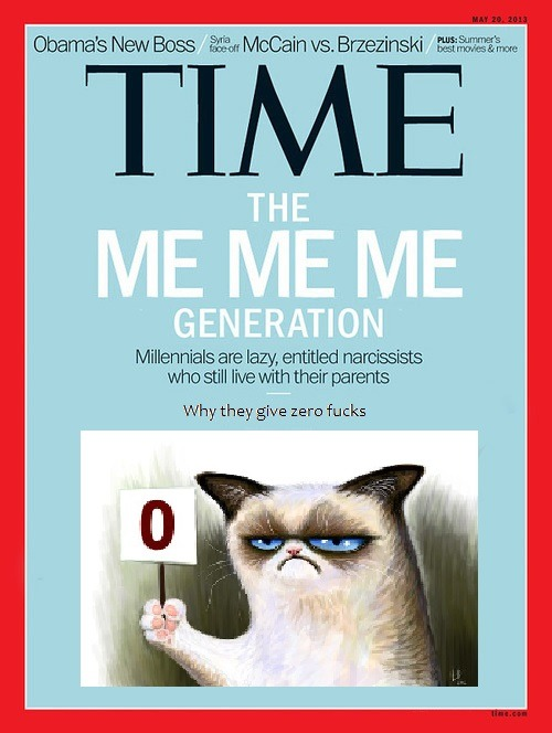 timemillennials:  They care about as much as Grumpy Cat