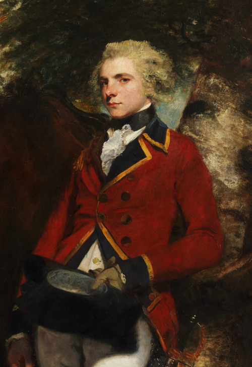 jaded-mandarin:  Captain George K. H. Coussmaker - Sir Joshua Reynolds, 1782. Detail.