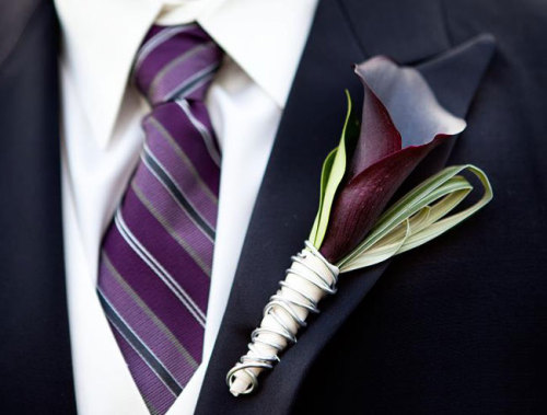Elegant aubergine calla lily boutonniere to accent the groom's formal attire. Image by Castaldo Studio