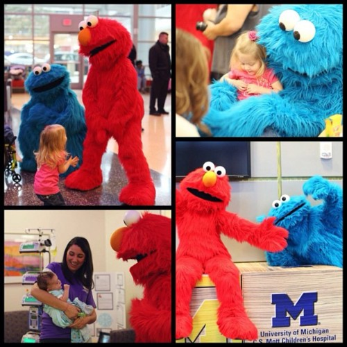 A Valentine's Day visit from Elmo and Cookie Monster!
