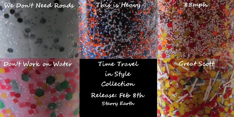 Time Travel in Style Collection releases this Friday! Feb. 8th! Will be on sale in my etsy shop! Based on the Back to the Future trilogy and made up of 5 polishes! 2 full coverage glitter polishes and 3 top coat glitters!
