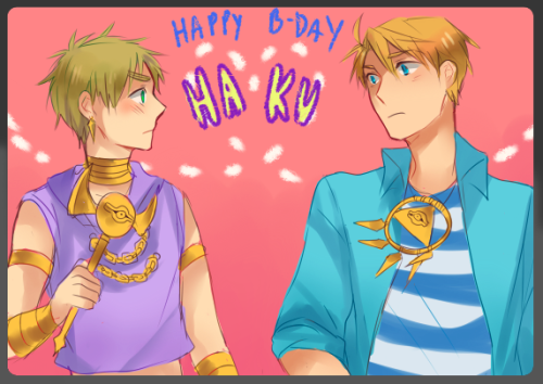 Happy Birthday Haku!!!~*~*~* ^q^ Keep being a stellar artist haha~! Arthur as Marik and Al as Bakura because I heard you like those two ohoho 6w6. The most I know about ygo is limited to watching the english ver on Saturday mornings and Little Kuriboh's ygo abridged series so I hope you don't mind!