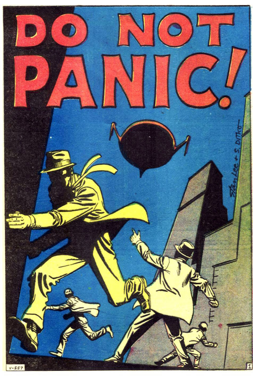 """Do Not PANIC"" or do. whatever. Classic Steve Ditko alien invasion comic panel. Must be All Worlds Fair season. Via thebristolboard:  Splash page by Steve Ditko from Strange Tales #95, published by Marvel Comics, April 1962."