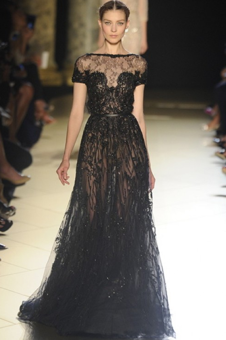 fashionfunfearless:  black lace gown.