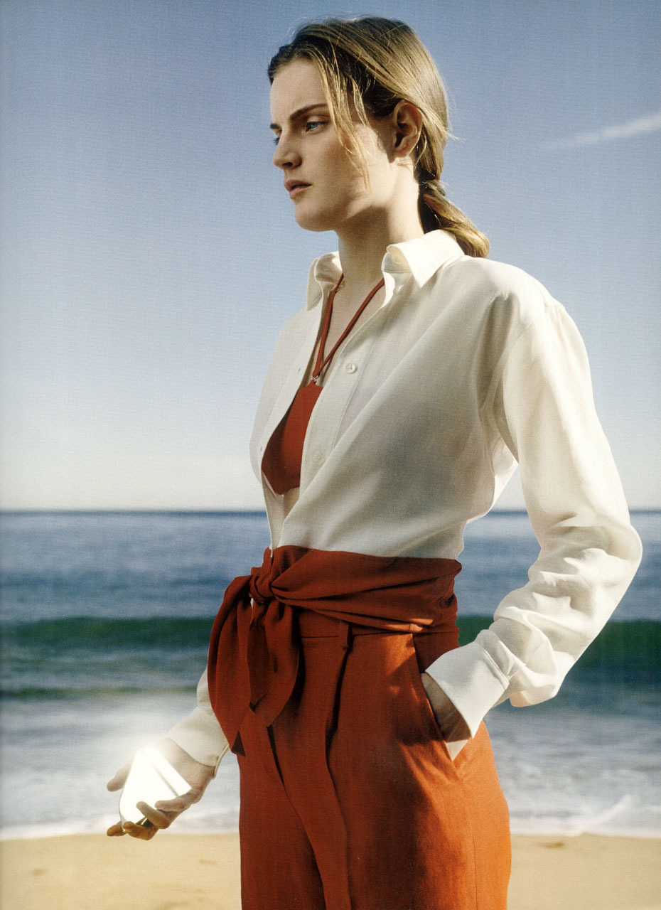 Two-tone knotted shirt in alabaster and vermillion silk and cotton georgetteTwo-piece reversible swimsuit with removable straps in vermillion/pearl-grey light jerseyStraight one-pleat pants in vermillion diagonal linen  She wants so many thingsphotography karena perronet-miller styling anne-laure nicolas Le Monde d'Hermès № 44, 2004 Vol. I, Spring-Summer 2004