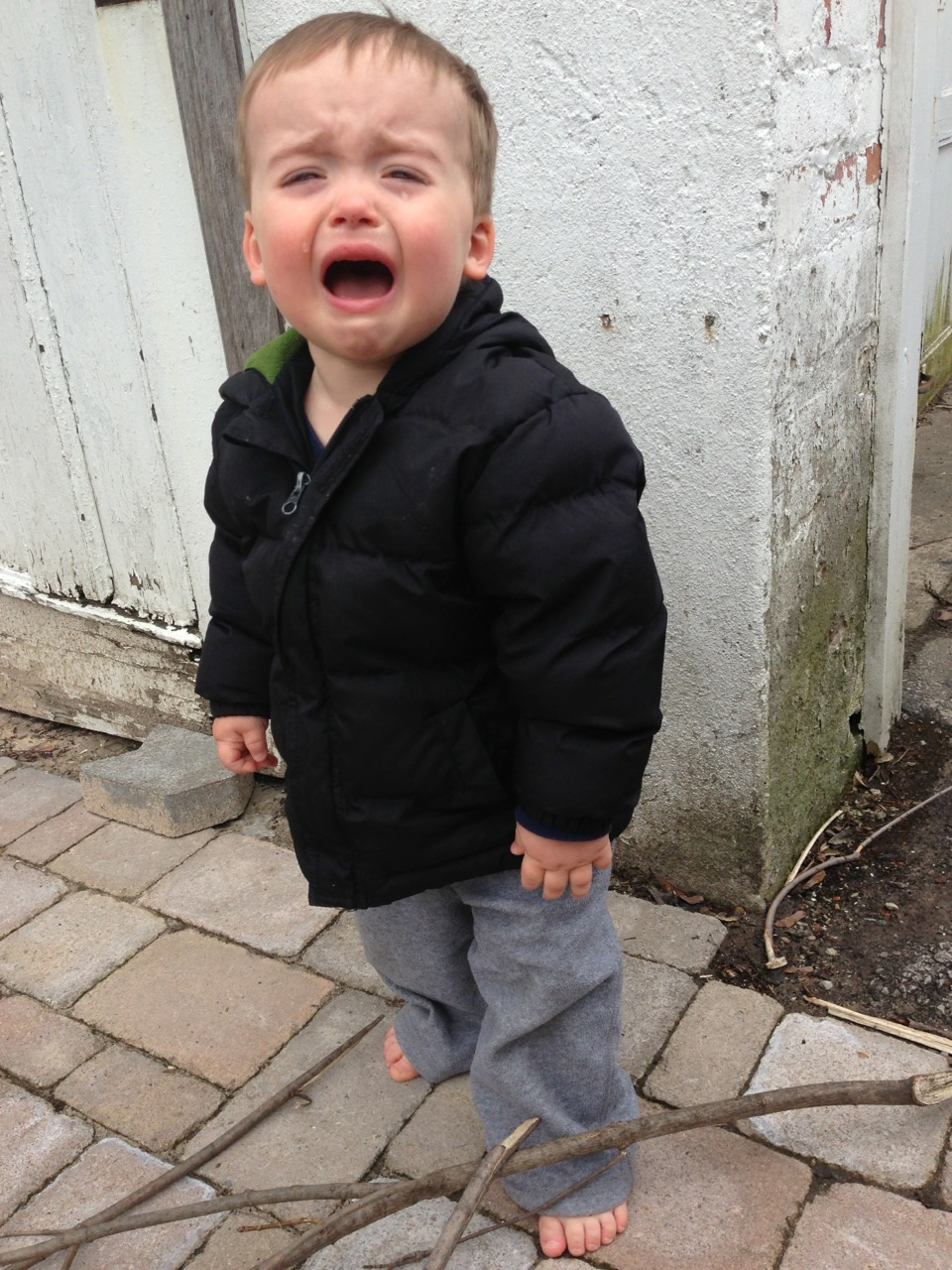 reasonsmysoniscrying:  He took his socks and shoes off.  His feet are now cold.