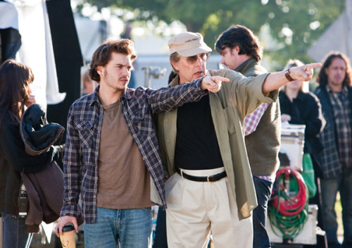 William Friedkin and Emile Hirsch on the set of Killer Joe (2012).