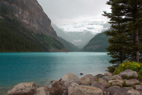 treasureoftheworld:  Stormy Lake Louise by Kathy~ on Flickr.