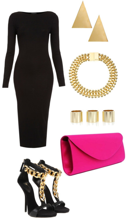 Pink clutch by rebekkab featuring a long sleeve bodycon dress