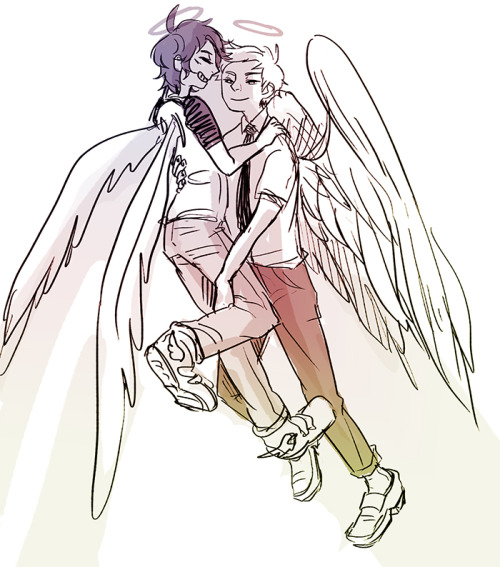 soywhale:  floralplasm's cute gay angels! so cute.. ;_; I.. actually wanted to draw them for quiet a while.. I'm glad you requested them u//u okay i guess tumblr erases the post when i make it private for even a second..it's here again ;_;