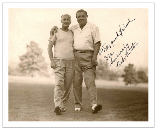 "Babe Ruth Golfing On Long Island St. Albans Golf Course, New York - c.1936 ""To my good friend Joe. Sincerely, Babe Ruth"""