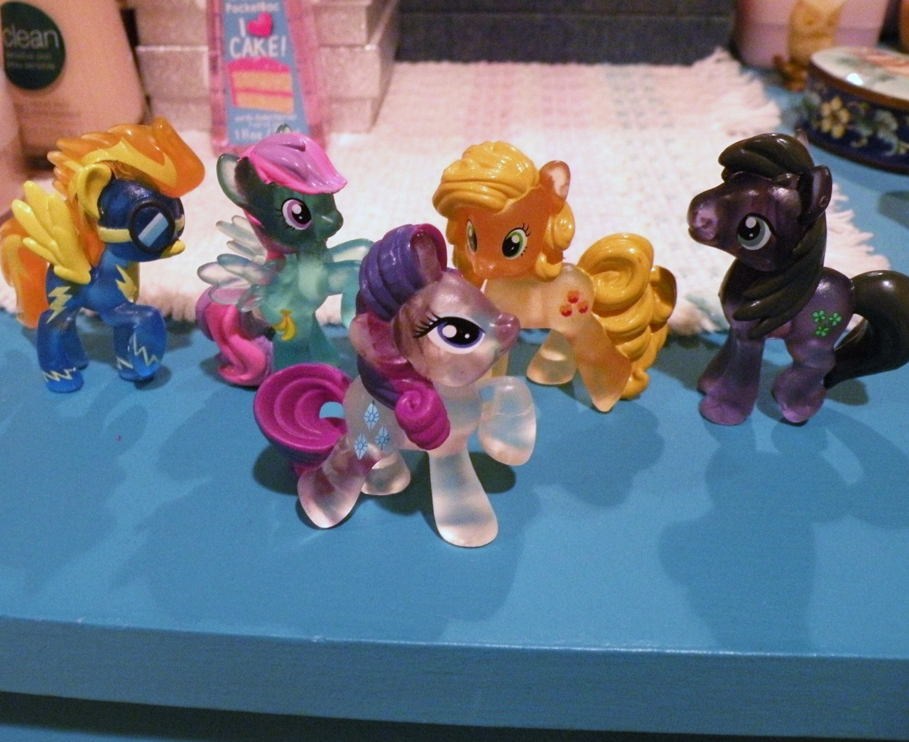 What: Blind bags wave 7 Where: Walmart Price: $2.47 eac plus tax :((( walmart finally got their shit together and had a full box of wave 7, so I got the last 5 I needed. It's been like a month since they had any. I was starting to think there was a global shortage or something. It's notable that they raised the price…damn. I guess I am going to have to scale back my blind bag purchases…which I probably won't. I love best pony as a crystal pony! she does indeed look fabulous. Banana fluff has some nice colors going on and clover is boring. But I'm a completionist when a full box presents itself. so there's that. wave 7 done.