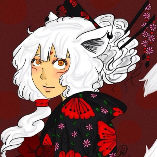 Done~❤ #art #Kitsu #fox #foxdemon #oc #digital #beautiful #pretty #cute #fantasy #doodle #red #flowers #twittericon