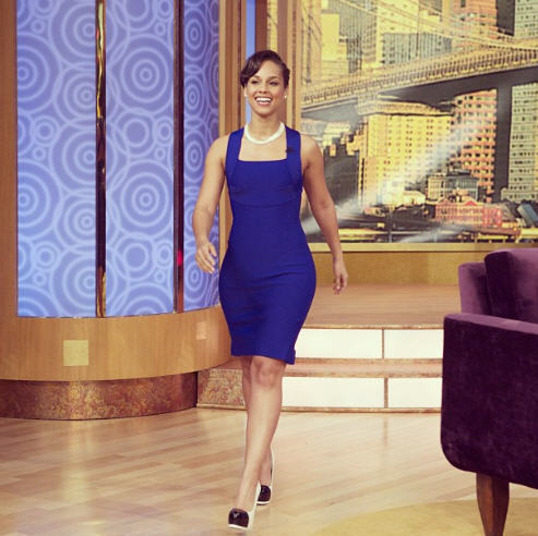 Splurge: Alicia Keys's The Wendy Show Roland Mouret Cross Back Godet Dress and Saint Laurent Tribtoo Pumps