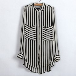 classy-lovely:  Trendy Shirt Neck Stripe Print Large Pocket Design Long Sleeve Plus Size Spring Shirt For Women