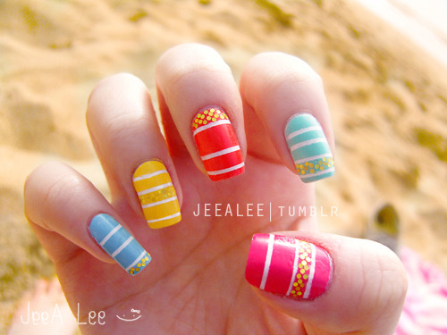 Spring Stripe Nails