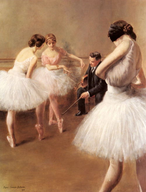 books0977:  The Ballet Lesson (1914). Pierre Carrier-Belleuse (French,1851–1932). Oil on canvas. Many of Carrier-Belleuse's works are a homage to female beauty, a genre that, in differing guises, grew in popularity in the latter 19th century. It frequently appeared in the form of dancers at work or in repose, thus catering for a new breed of collector in Paris, those familiar with the dance halls and Follies.