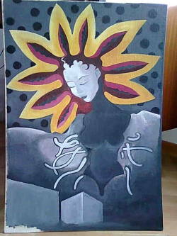 The painting I did when I first came to Bratislava. I've sent it to Yuki to Japan afterwards.