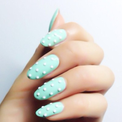 Holy #Mint Balls! @karengnails creates the #3D #nailart #megatrend for this #spring13 @nailinghollywood #nailinghollywood