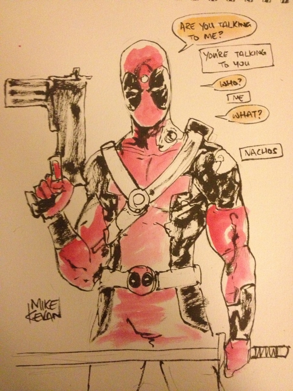 harlequinfairy:  curiousintent:  Deadpool sketch.  hahaha <3