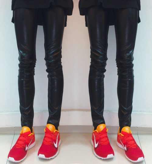 pyrrhics:  lephillipe:  me in leather and NEW nikes.  i approve phillipe
