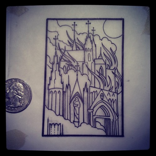 gerald-feliciano-tattoo:  Final drawing for the worlds smallest burning church @littlesquirrels (at East Side Ink)