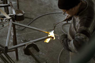 fuckyeahcycling:  Filet brazing a Paris frame (by CondorCycles)